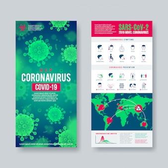 Banner di coronavirus impostato con elementi di infografica. nuovo design di coronavirus 2019-ncov.
