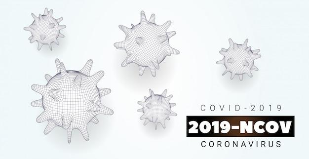 Striscione coronavirus sfondo bianco con batteri, corona virus, sars-cov-2. concetto 2019-ncov con mesh cellulare poligonale. elementi 3d covid-2019. illustrazione
