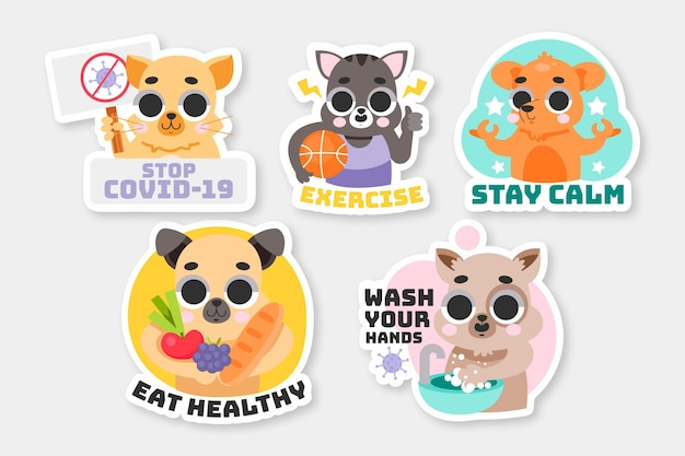 Collezione di adesivi del concetto di coronavirus con simpatici animali