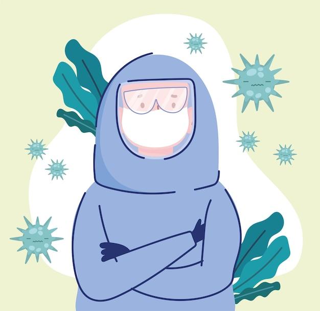 Uomo di controllo del coronavirus in tuta protettiva
