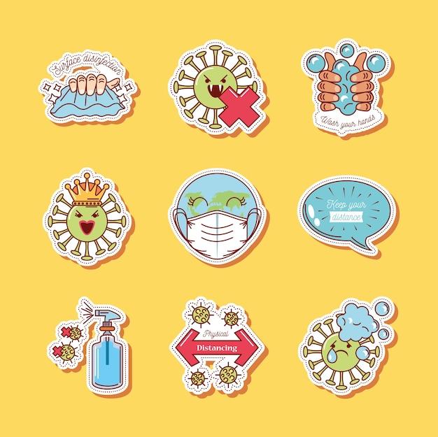 Coronavirus covid 19 icone impostate, icona adesivo illustrazione misure di prevenzione