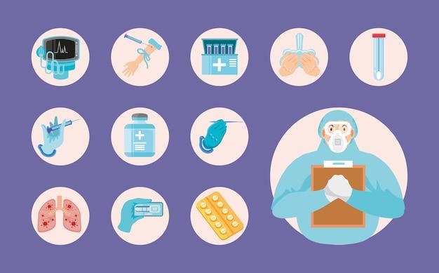 Coronavirus covid 19 test di trattamento di prescrizione di farmaci per il personale medico per l'illustrazione delle icone di malattia