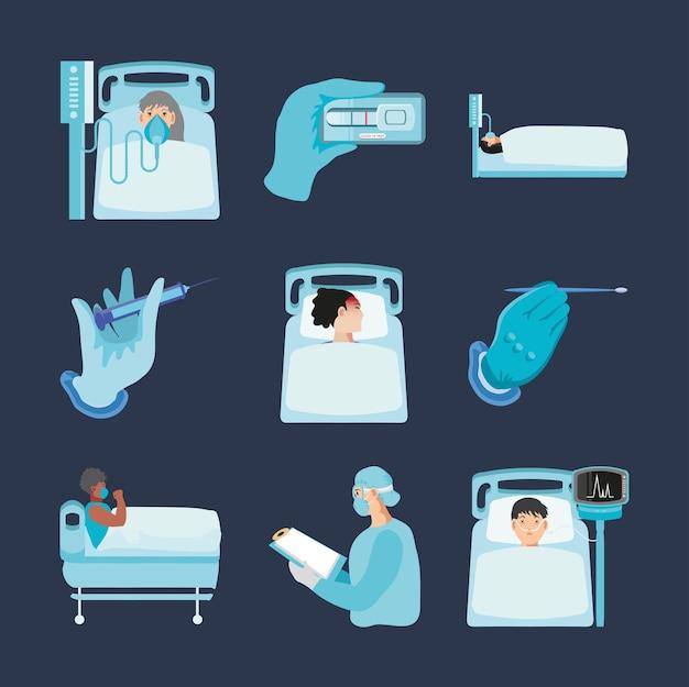 Coronavirus covid 19 pazienti testano campione personale icone mediche impostare illustrazione