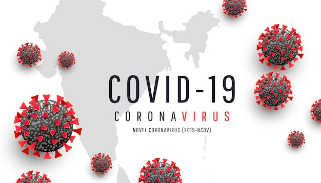 Coronavirus o covid-19. cella rossa del coronavirus sul fondo della mappa dell'india del mondo. epidemia, pandemia, medicina, vaccino virale. diffusione e infezione globale di virus