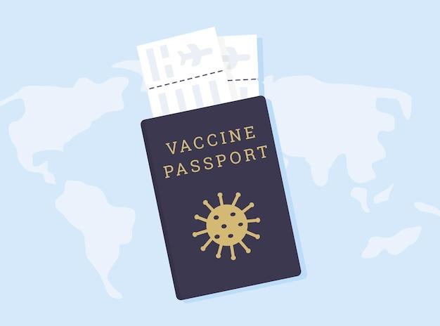 Passaporto del vaccino contro il coronavirus covid con virus e biglietti aerei. passaporto per viaggi all'estero con carta d'imbarco.