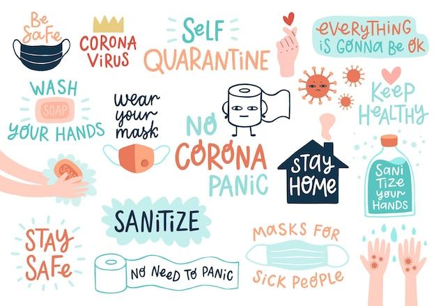Iscrizioni coronavirus covid19 e illustrazione di altri elementi