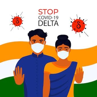 Coronavirus delta b uomo e donna indiani mostrano il gesto della mano di arresto