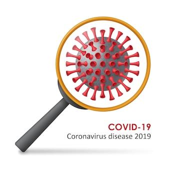 Sfondo della malattia da coronavirus covid-19. cellule virali realistiche e lente di ingrandimento