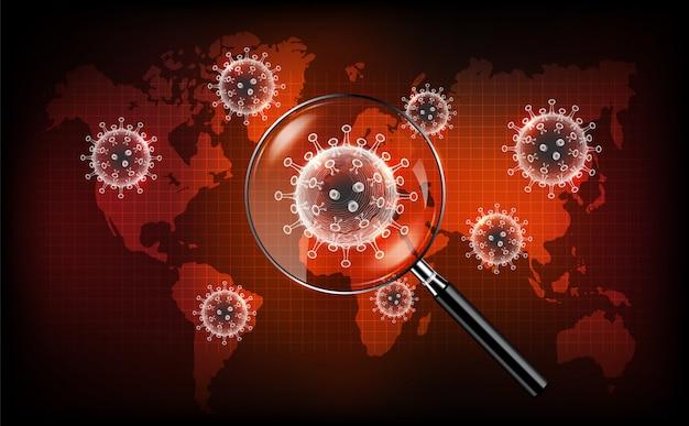 Malattia da coronavirus covid-19 infezione medica con lente d'ingrandimento sulla mappa del mondo. nuovo nome ufficiale per la malattia di coronavirus chiamato covid-19, concetto di screening del coronavirus, illustrazione