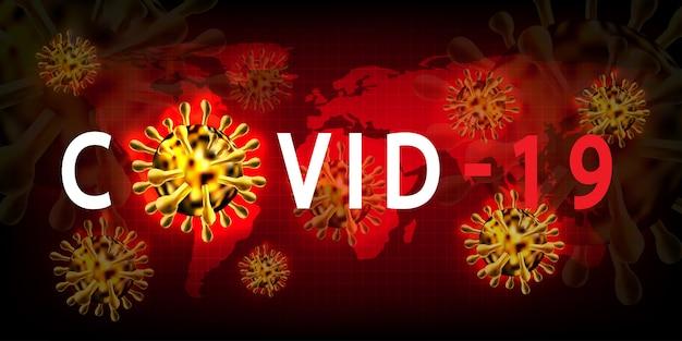 Infezione medica covid-19 della malattia di coronavirus. cellule del virus povico dell'influenza respiratoria patogena mondiale. nuovo nome ufficiale per la malattia di coronavirus chiamato covid-19 che utilizza come sfondo e sfondo.