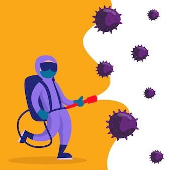 Concetto piano dell'illustrazione di disinfezione di coronavirus
