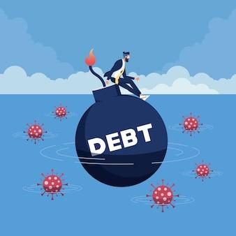 Crollo economico del coronavirus che causa grossi debiti per affari e disoccupazione