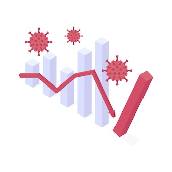 Coronavirus crisi economica isometrica illustrazione vettoriale