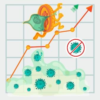 Illustrazione di recupero finanziario di coronavirus
