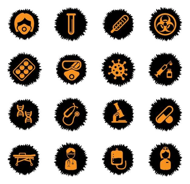 Set di icone di coronavirus per infografica o sito web. icone mediche su macchie di vernice nera. nuovo coronavirus 2019-ncov. 2019 e 2020 epidemia covid-19