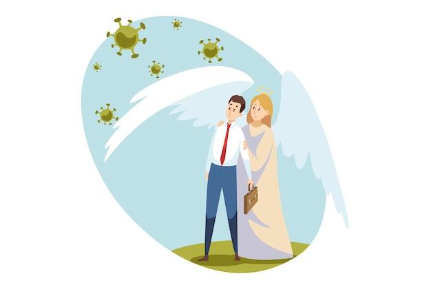 Illustrazione di coronavirus Vettore Premium
