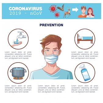Coronavirus infographic con progettazione dell'illustrazione di vettore del carattere dell'uomo di sintomi