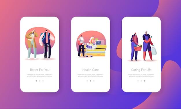 Coronavirus lockdown misure preventive modelli di schermata della pagina dell'app mobile
