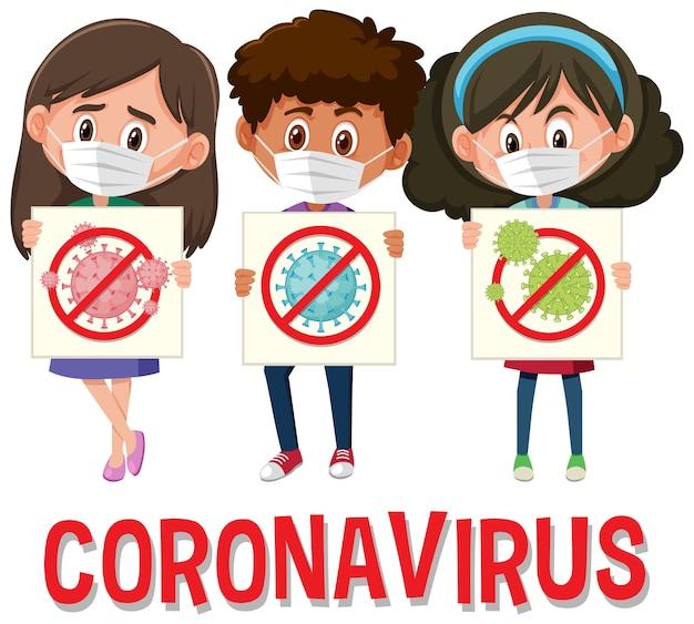 Logo del coronavirus con tre adolescenti che tengono il segno di stop coronavirus