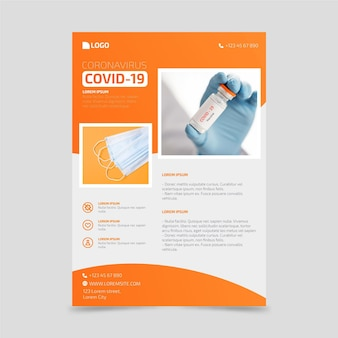 Modello di volantino per prodotti medici coronavirus con foto
