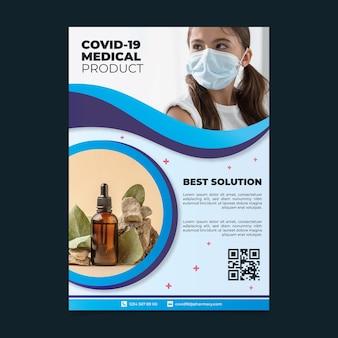 Poster di prodotti medici coronavirus con foto
