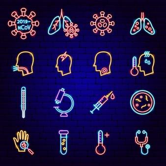 Icone al neon di coronavirus. illustrazione vettoriale di promozione medica.