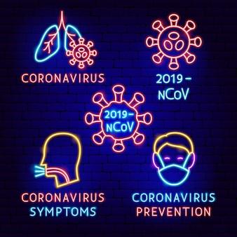 Set di etichette al neon per coronavirus. illustrazione vettoriale di promozione medica.