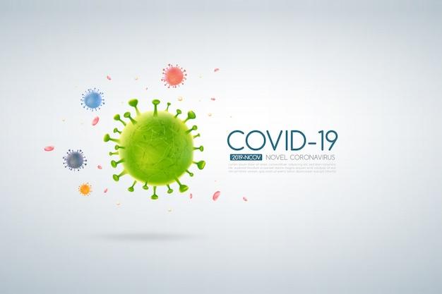 Scoppio di coronavirus design covid-19 con cellula virale che cade su uno sfondo chiaro