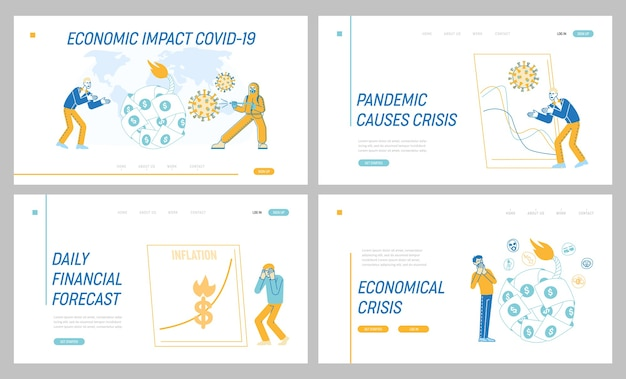 Coronavirus outbreak global economy crisis concept for landing page template set