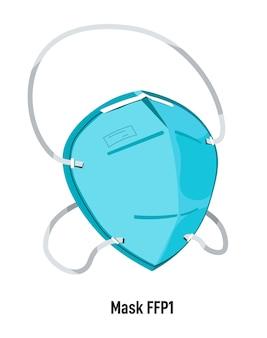 Focolaio di coronavirus e situazione pandemica, maschera facciale isolata ffp1 con filtro e cinghie per la sicurezza e la salute. attrezzature per operatori sanitari. misure di protezione, vettore in stile piatto