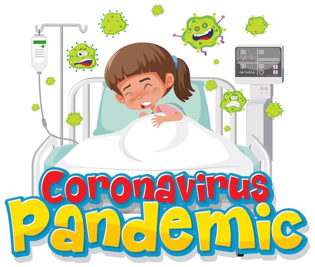 Banner pandemia di coronavirus con personaggio dei cartoni animati paziente ragazza