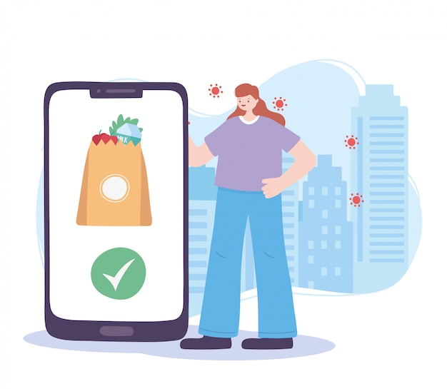 Pandemia di coronavirus, servizio di consegna, cliente con smartphone e borsa della spesa