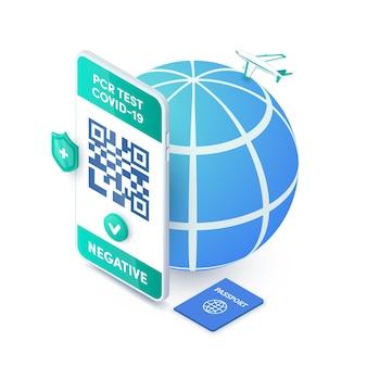 Codice qr del certificato di prova del coronavirus pcr sullo schermo dello smartphone vettore isometrico. passaporto sanitario