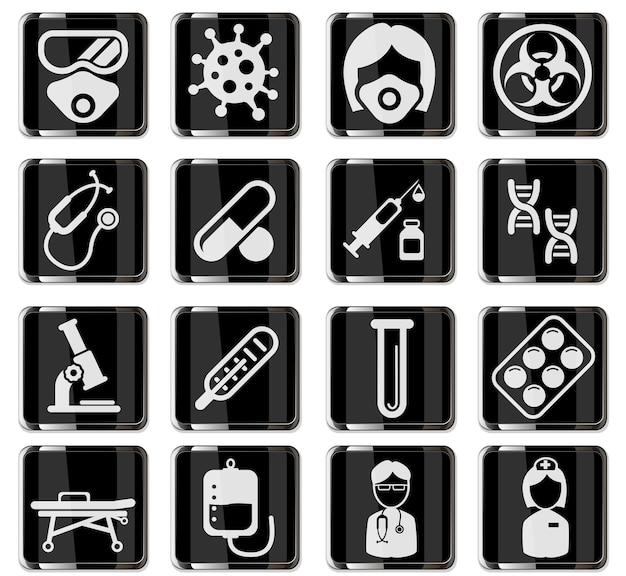 Pittogrammi di coronavirus in pulsanti cromati neri. set di icone per infografica o sito web. nuovo coronavirus 2019-ncov. 2019 e 2020 epidemia covid-19 Vettore Premium