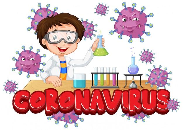 Cartellonistica coronavirus con ragazzo che lavora in laboratorio