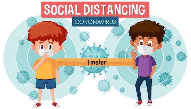 Design del poster di coronavirus con ragazzi malati e parole di distanza sociale