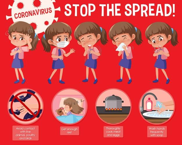Il design del poster di coronavirus con la parola ferma la diffusione