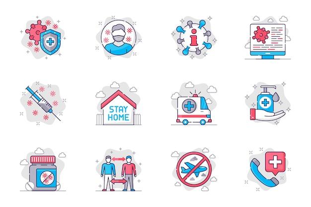 Icone della linea piatta del concetto di prevenzione del coronavirus impostate vaccinazione e prevenzione delle malattie per i dispositivi mobili