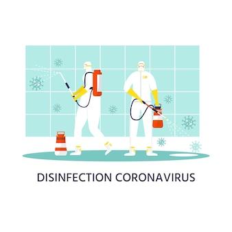 Concetto di prevenzione del coronavirus, persone in tuta protettiva e maschera spray e disinfetta l'oggetto. epidemia globale o pandemia. covid-19, malattia da coronavirus. vettore