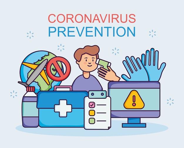 Progettazione di prevenzione del coronavirus con uomo e relative icone