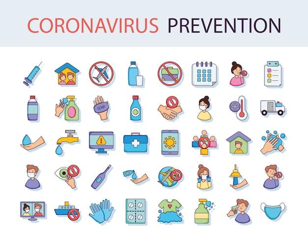 Set di icone di prevenzione del coronavirus