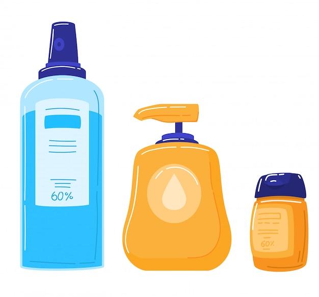 Prevenzione e protezione del coronavirus, gel antisettico alcolico per pulire le mani e prevenire i germi, illustrazione di disinfezione medica.