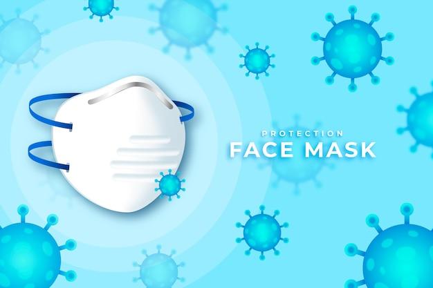 Sfondo di protezione dal coronavirus con maschera facciale