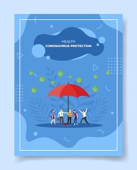 Illustrazione di protezione dal coronavirus Vettore Premium