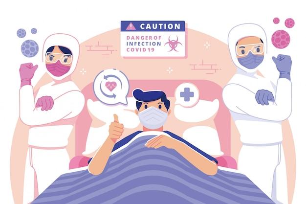Coronavirus ha recuperato l'illustrazione di design piatto del paziente