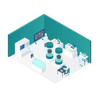 Ricerca di coronavirus da medici nell'illustrazione isometrica del laboratorio 3d
