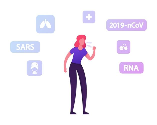 Sintomi del coronavirus, prevenzione e concetto di trattamento. donna malata che tossisce con icone mediche intorno