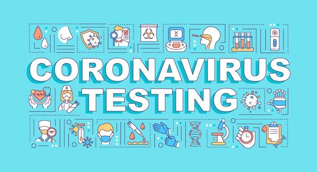 Banner di concetti di parola di test di coronavirus