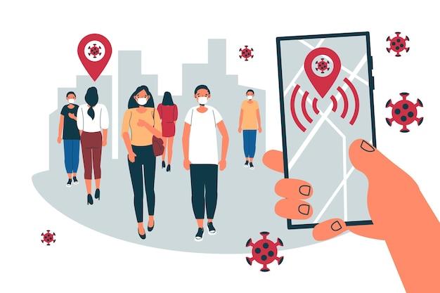 Coronavirus tracking concept app di localizzazione