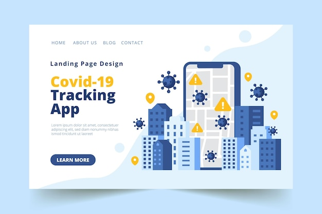 Pagina di destinazione dell'app di localizzazione del coronavirus